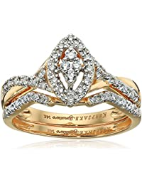 Keepsake Signature 14k Gold Diamond Marquise Style Ring with Matching Wedding Band Set (1/4cttw, H-I Color, I1 Clarity)