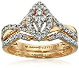 Keepsake Signature 14k Yellow Gold Diamond Marquise Style Ring with Matching Wedding Band Set (1/4cttw, H-I Color, I1 Clarity), Size 9