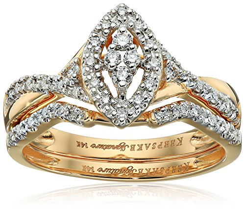 Keepsake Signature 14k Yellow Gold Diamond Marquise Style Ring with Matching Wedding Band Set (1/4cttw, H-I Color, I1 Clarity), Size 7 by Amazon Collection