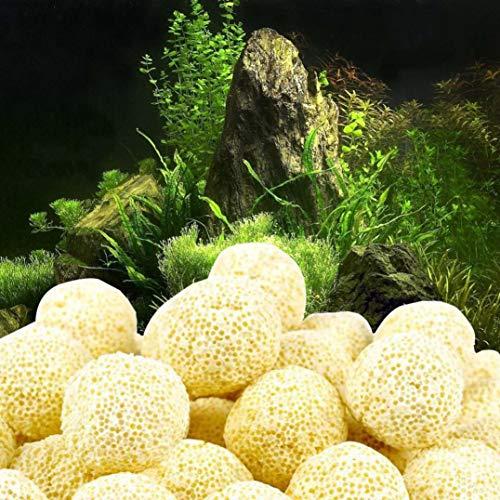 SHJNHAN Aquarium Porous Ceramic Filter, Media Net Bag Biological Ball Fish Tank (A)