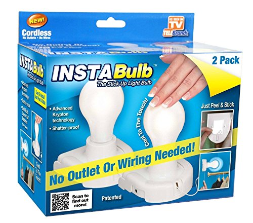 InstaBulb Battery Operated Light Bulb, 2 Pack 1 ea by InstaBulb (Light Operated Battery Bulb)