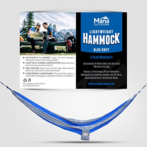 Mana Outdoors Camping Hammock Blue/Grey