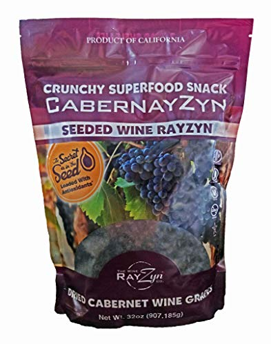CabernayZyn Dried Cabernet Sauvignon Seeded Wine Grape RayZyn (Raisin) 2 Pounds by RayZyn