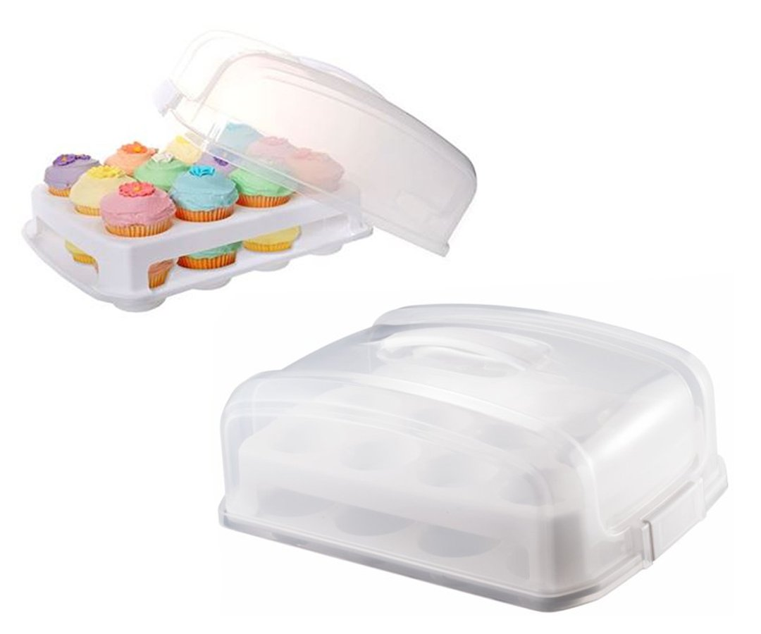Adjustable 2 Layer Cupcake Holder And Cake Carrier Container Holds 24 cupcakes by MisterChef®