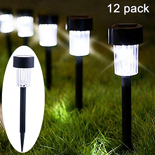 Black 7 Post Lights (Maggift 12 Pack Solar Pathway Lights Solar Garden Lights Outdoor Solar Landscape Lights for Lawn, Patio, Yard, Walkway, Driveway)