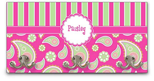 YouCustomizeIt Pink & Green Paisley and Stripes Wall Mounted Coat Rack (Personalized)