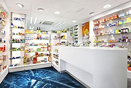 Ruvitex 3D Decor Revestimiento de suelo 3d farmacia drogerie vinilo PVC alfombra Decal azulejos pared Art