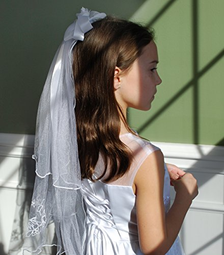 Beautiful First Communion Veil with Satin Bow and Flower Accent