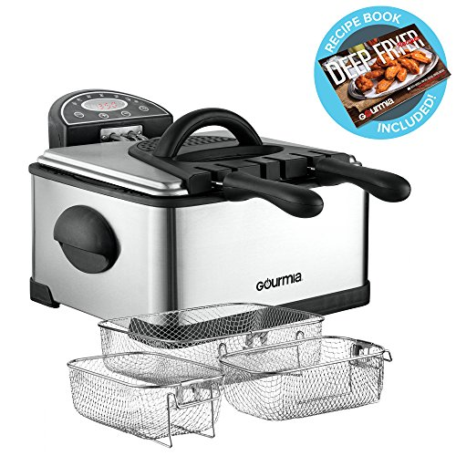 Gourmia GDF500 Compact Electric Deep Fryer, 3 Baskets with D