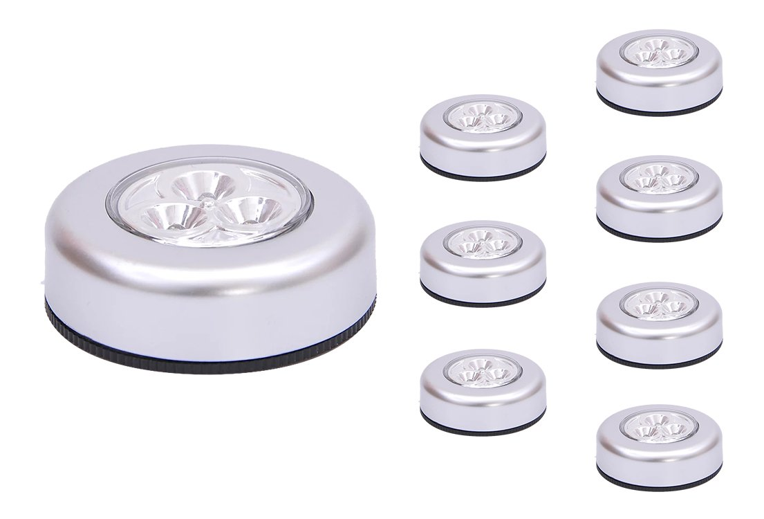 UOTOO Tap Lights, Wireless Stick-on Push Lights, Battery Powered Led Click Touch Light for Closet, Cabinet, Trunk White Light 8-Pack