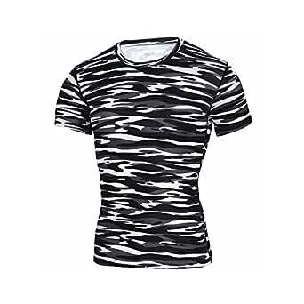 Gate2Light Men's T-Shirt All Sport Training Short Sleeve Fitness Gym (Black-White, Small)