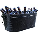 BREKX Heavy-Duty Black Galvanized Creighton Pebbled Beverage Tub Party Chiller - Large