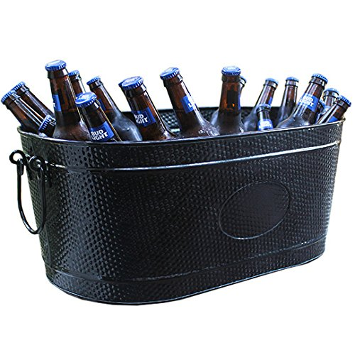 BREKX Heavy-Duty Black Galvanized Creighton Pebbled Beverage Tub Party Chiller - ()