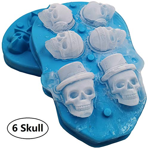 3D Skull Ice Mold with Lid-Silicone Ice Cube Trays-Food Grade Ice Maker-Perfect Silicone Ice Cube Mold for Whiskey, Cocktail and Vodka, Whiskey Ice