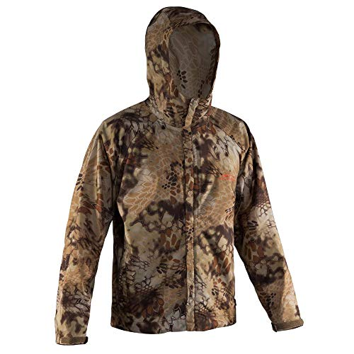 Rain Jacket Camo - Grundéns Men's Weather Watch Hooded Fishing Jacket, Kryptek Highlander - X-Large