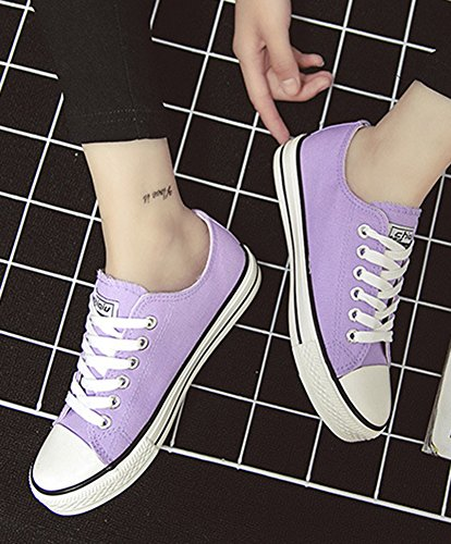 Aisun Womens Confortable Respirant Bout Rond Bas Tops Running Lace Up Plate-forme Toile Sneakers Appartements Chaussures De Skateboard Violet