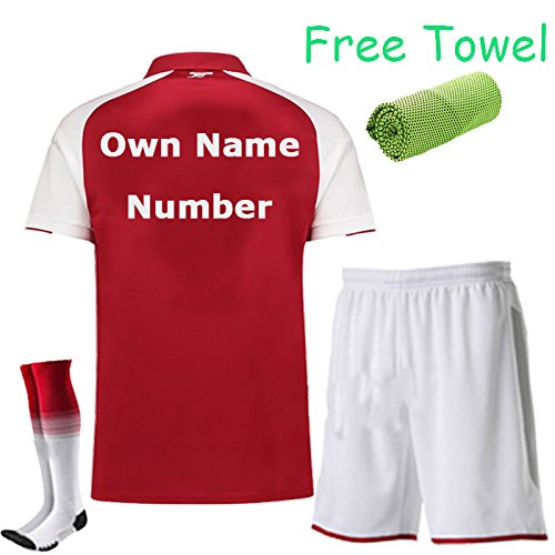 Arsenal Youth Home Jersey (FC FirstClass 2017-18 Football Soccer Red kit Home Jersey Kids Youth Sportwear suit 3-12 YRS With Shirt & Shorts & Socks & Free Face Cloth (Own Name And Number, 3-4 years))
