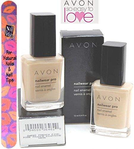 Avon Nailwear Nail Enamel - AVON Nailwear Pro Nail Enamel #N606 SHEER FRENCH PINK (SET OF 2) (Plus a Free Nail File From fetish for Natural Nails And Nail Tips)