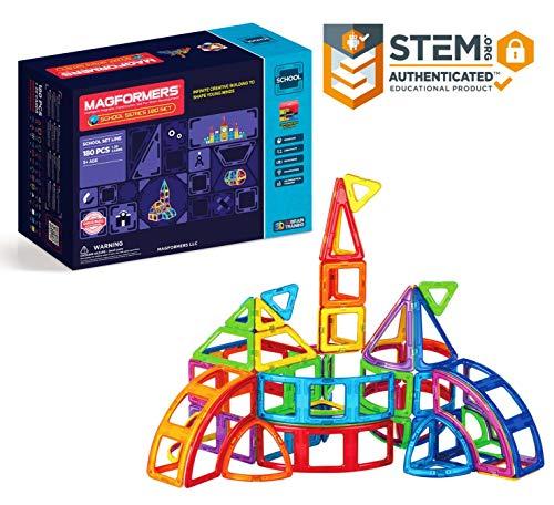 Magformers School 180 Pieces Rainbow Colors, Educational Magnetic Geometric Shapes Tiles Building STEM Toy Set Ages 3+