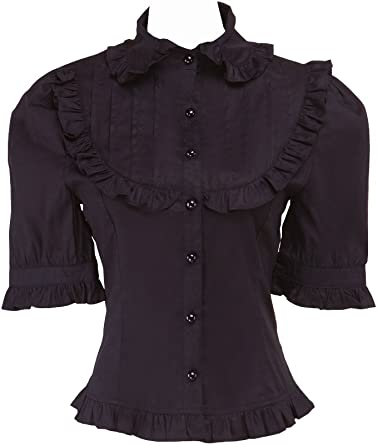 an*tai*na* Negra Algodón Volantes Classical Vintage Gotica Lolita Camisa Blusa de Mujer: Amazon.es: Ropa y accesorios