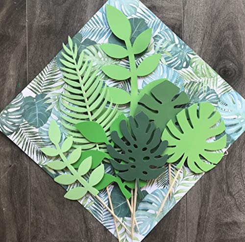 LaVenty Set of 7 Glittery Tropical Leaves Cake Topper Tropical Wedding Cake Topper greenery Cake Topper Palm Leaf Cake Topper for Jungle Theme Birthday Party Decor Safari Baby Shower Decor]()