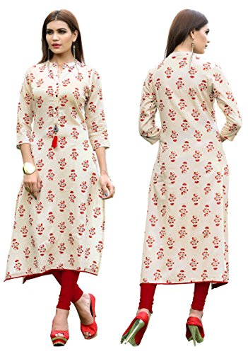 (ziya Rayon Long/Cowls Kurti Women Dress Printed Kurti Women Formal & Party Wear 153-7 (White, XL-42))