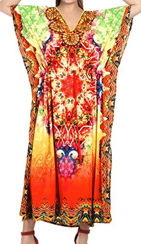 LA LEELA Likre Digital Long Caftan Women's Multicolor_748 OSFM 14-22W [L-3X] - Red Kaftan