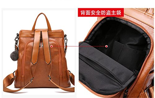 Bolso Mochila Elegante Negro Y Nueva Caliente Bolsa Casual Casual Meaeo Brown Retro Simple aAYq61