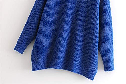 Maglia Roohb In Inverno Alto Maglioncino Autunno Collo Donna Con E Blue Da O8wqrO1U