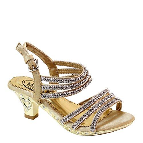 (Brieten Kids Buckle Slingback Rhinestone Strapy Heart Heel Sandals (10, Gold))