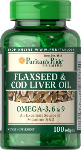 Cold Pressed Cod Liver Oil (Puritan's Pride Flaxseed & Cod Liver Oil 1000 mg Omega 3, 6 & 9-100 Softgels)