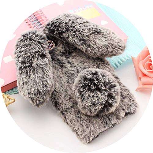 Prefect,for iPhone 7 Case 3D Cute Rabbit Hairy Warm F-ur Bling Rhinestone Plush Bunny Case Cover for iPhone Xs 4 4S 5 5S SE 5C 6 6S 8Plus,Dark Gray,for iPhone 5C