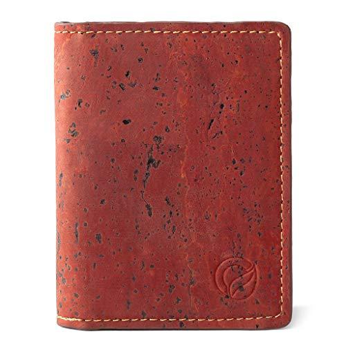 Corkor Slim Wallet for Men RFID | Vegan Non Leather | Bifold for Cards Cash Red Color