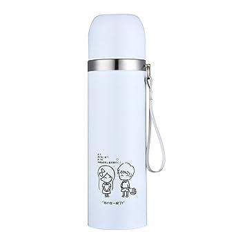 Xuxuou Moda Forma Creativa Termo Hombres y Mujeres Estudiantes Portátil Botella de Agua de Acero Inoxidable Pequeña Taza de Arte Fresco