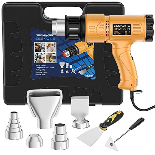 : Heat Gun, SEEKONE 1800W Heat Gun Kit With Carry Case, Variable Temperature Control with 2-Temp Settings 4 Nozzles 122℉~1202℉(50℃- 650℃)with Overload Protection for Crafts, Shrinking PVC