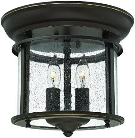Hinkley 3472OB Traditional Two Light Flush Mount from Gentry collection in Bronze Darkfinish,