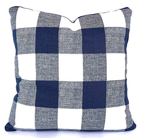 FARMHOUSE Blue White Buffalo Check Decorative Throw Pillow Covers Cushions Premier Light Navy White Plaid Buffalo Gingham Couch Sofa Various Sizes ()