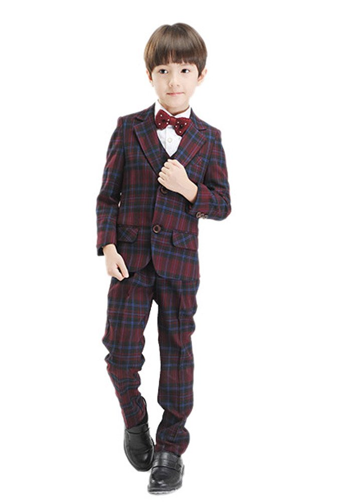 Oncefirst boys' 5-Piece Classic Fit Plaid Formal Wedding Suits Brugundy