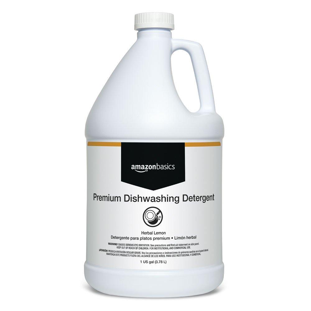 AmazonBasics Heavy-Duty Liquid Dishwasher Detergent Soap, Concentrate, Citrus, 1 Gallon, 4-Pack by AmazonBasics