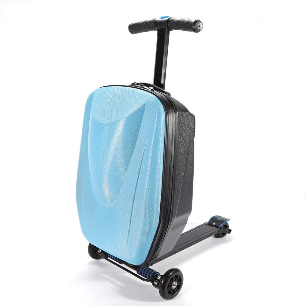 WUPYI 20 inch Scooter Luggage,Rolling Suitcase Trolley Luggage for Airport Travel Business (Sky Blue Style 2) by WUPYI