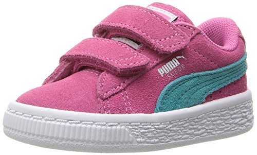 PUMA Girls' Suede 2 Straps Inf Sneaker, Shocking Pink-Navigate, 8 M US (Suede Girls Shoes)