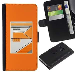 Paccase / Billetera de Cuero Caso del tirón Titular de la tarjeta Carcasa Funda para - Orange Building Abstract Minimalist Pattern - Samsung Galaxy S3 MINI NOT REGULAR! I8190 I8190N