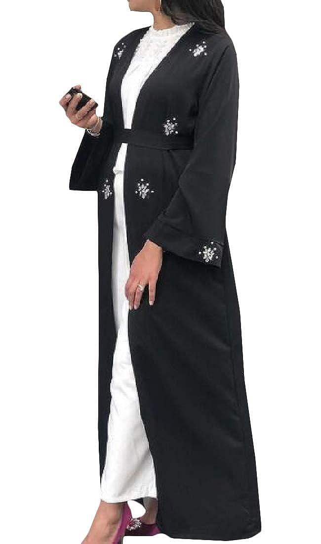 Joe Wenko Womens Abaya Gown Dubai Islamic Beading Cardigan Swing Cardigans
