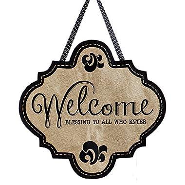 Evergreen Welcome Blessings Burlap Door Decor