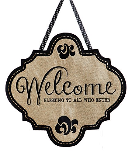 - Evergreen Door Hanger Set, Welcome Burlap Door Decor with Fleur-de-Lis Metal Holder