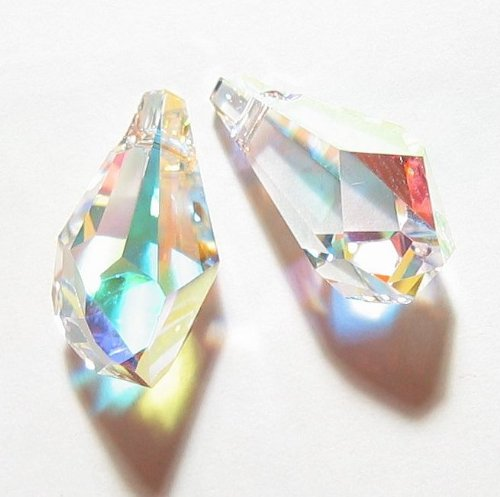 (2 pcs Swarovski Crystal 6015 Polygon Drop Pendant Clear AB 13mm / Findings / Crystallized Element)