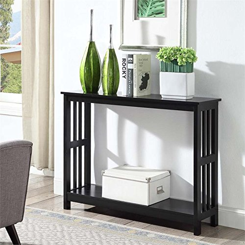 Glass Mission End Table (Convenience Concepts Mission Console Table, Black)
