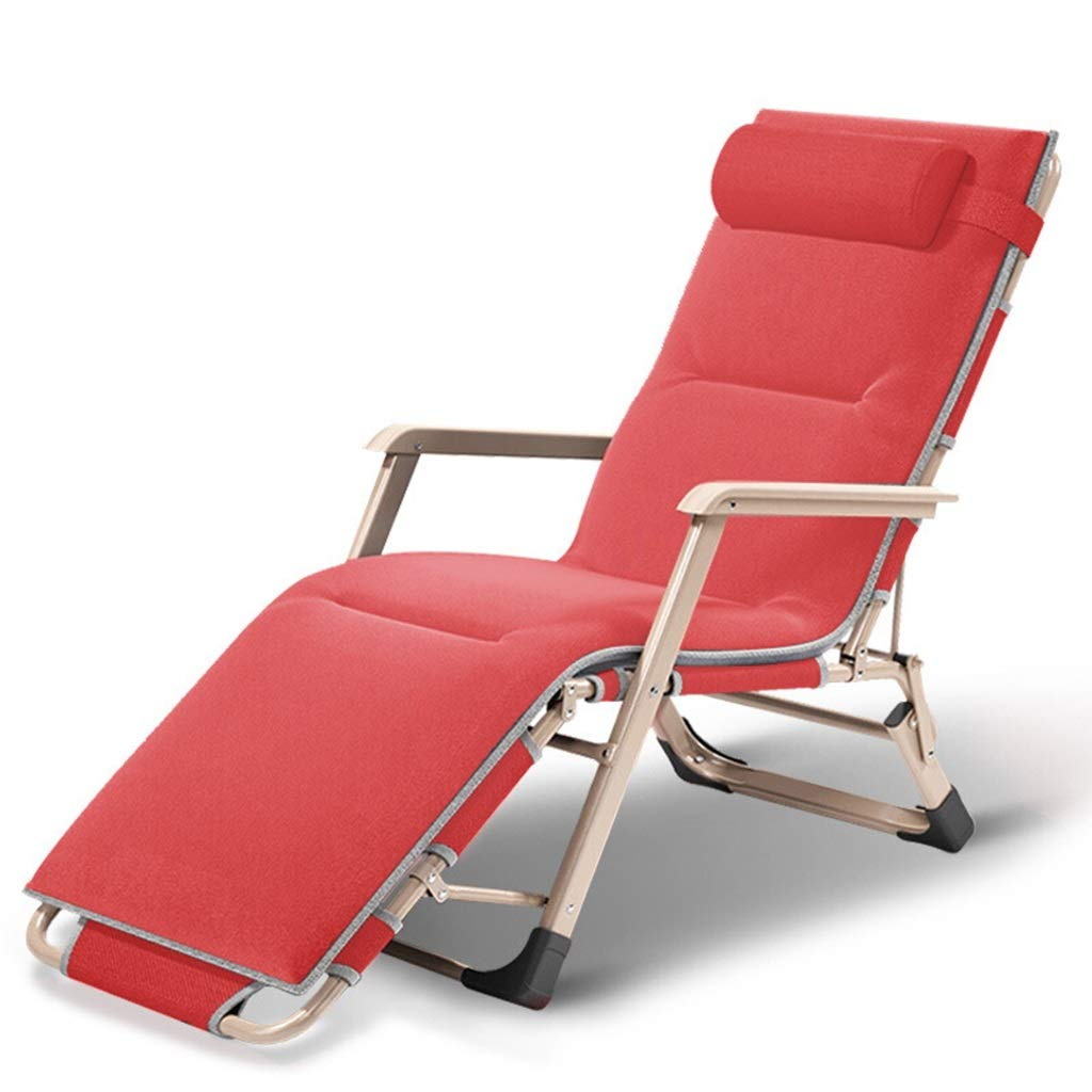 Red DKJH Sun Loungers, Teslin Chair, Portable Home nap Chair, Lunch Break Folding Lounge Chair, Plus Cotton Recliner (color   Red)