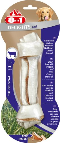 8in1 Delights Beef Kauknochen Größe L (gesunder Kausnack für größere sensible Hunde über 20 kg, hochwertiges Rindfleisch eingewickelt in Rinderhaut), 1 Stück (85 g)