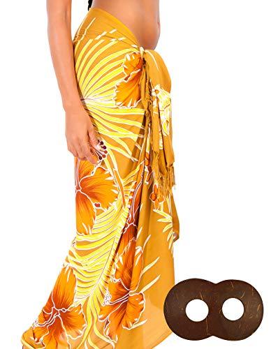 (1 World Sarongs - Sarong and Sarong Tie - Womens Hawaiian Floral Swimsuit Cover-Up Pareo Sarong in Browns)